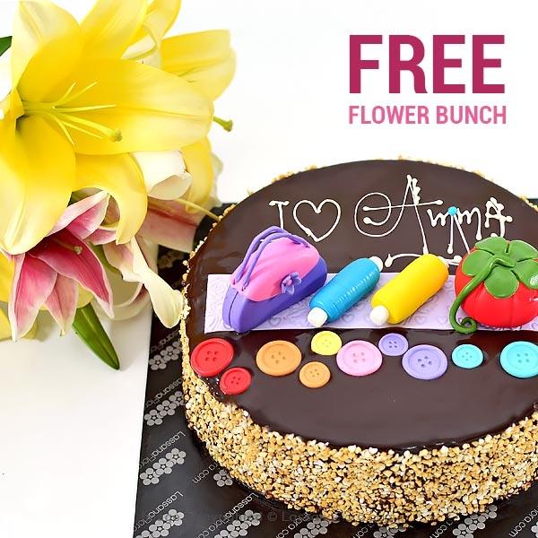 I LOVE YOU AMMA-1KG (2.2 lbs) (With FLOWER BUNCH ) - Lassana Cakes - in Sri Lanka