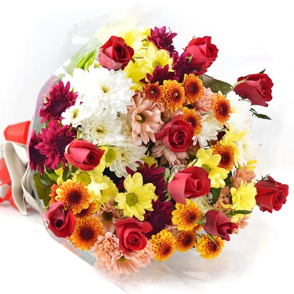 BLUSH CHRYSANTHEMUM AND ROSE BOUQUET - Thank You - in Sri Lanka