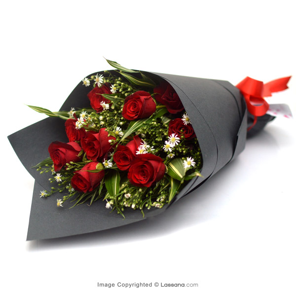 SHEAF OF 10 RED ROSES - Love & Romance - in Sri Lanka
