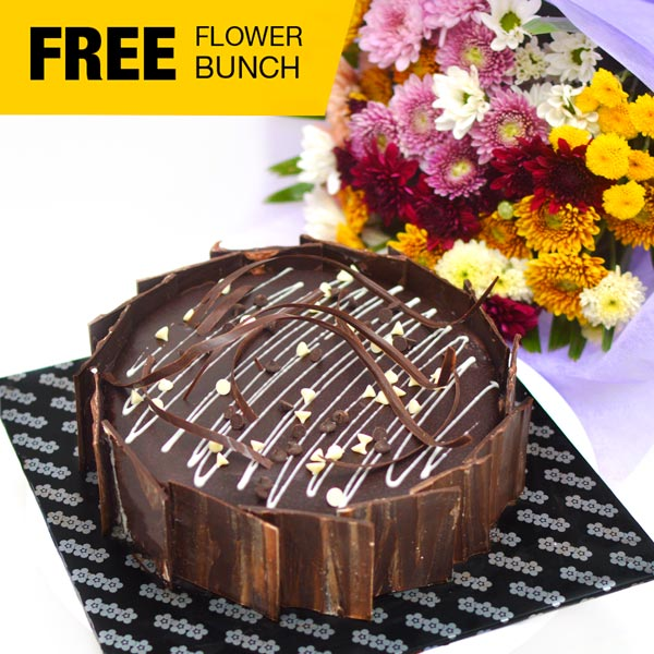 CHOCOLATE SLUDGE CAKE ( New) -1 KG (2.2 lbs) (With Flower Bunch) - Lassana Cakes - in Sri Lanka