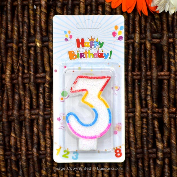 BIRTHDAY NUMBER CANDLE - 3 - Party Supplies - in Sri Lanka