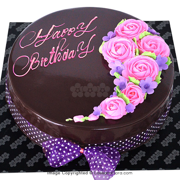 BIRTHDAY CHOCOLATE FUDGE CAKE(ROUND) 1Kg (2.2lbs) - Lassana Cakes - in Sri Lanka