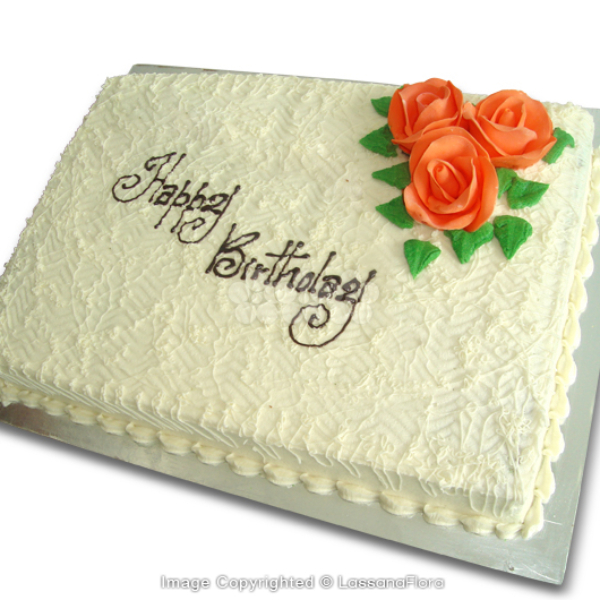 BIRTHDAY RIBBON CAKE(SQUARE) 2Kg (4.4 lbs) - Lassana Cakes - in Sri Lanka