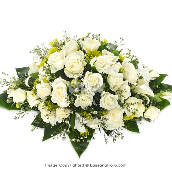 COFFIN WREATH WHITE ROSES (2 FEET) - Sympathy - in Sri Lanka
