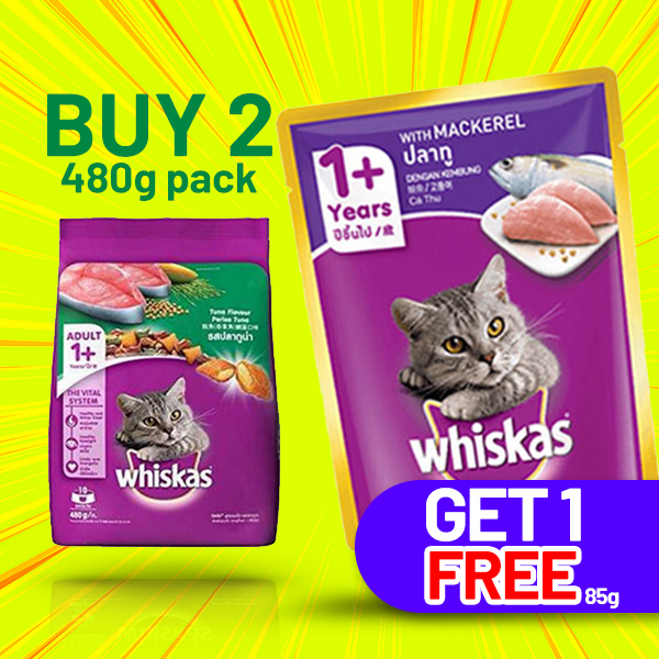 WHISKAS ADULT TUNA (480g) - BUY 2 AND GET 1 (85g) FREE - Pet Care - in Sri Lanka