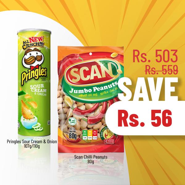SUPER SAVE - PRINGLES SOUR CREAM & ONION (110G) & SCAN CHILLI PEANUTS 80G - Snacks & Confectionery - in Sri Lanka