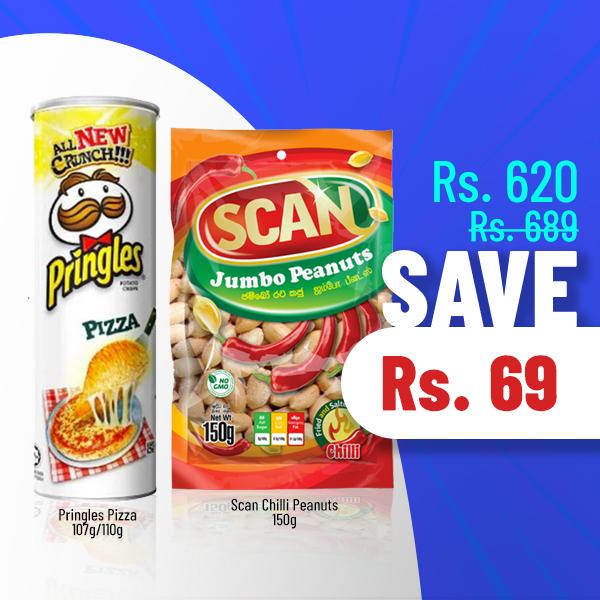 SUPER SAVE - PRINGLES PIZZA (107G)/(110G) & SCAN CHILLI PEANUTS 150G - Snacks & Confectionery - in Sri Lanka