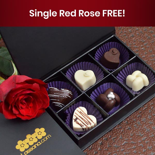 Chocolates by Lassana - 6 Pcs Box ( Single Red Rose Free ) - Gift Packs - in Sri Lanka