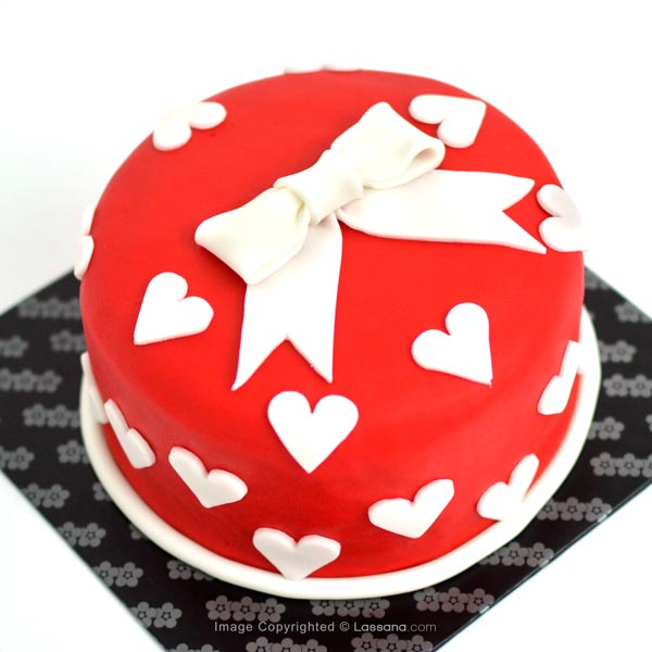 RED LOVE MINI HEART CAKE - 1Kg ( 2.2lbs ) - Lassana Cakes - in Sri Lanka