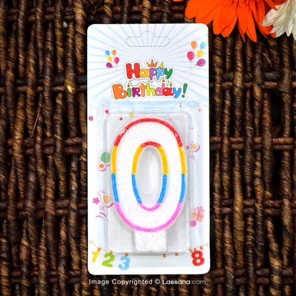 BIRTHDAY NUMBER CANDLE - 0 - Party Supplies - in Sri Lanka