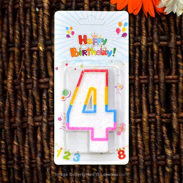 BIRTHDAY NUMBER CANDLE - 4 - Party Supplies - in Sri Lanka