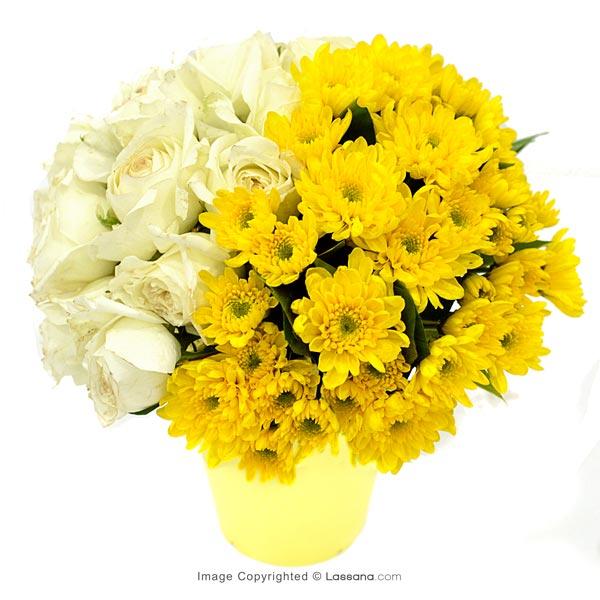Yellow Hello ( White Roses With Chryshathemums ) - Thank You - in Sri Lanka