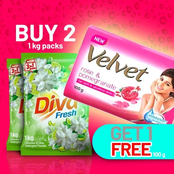 DIVA POWDER JASMIN - 1Kg (BUY 2 & GET VELVET 100G FREE) - Household Essentials - in Sri Lanka