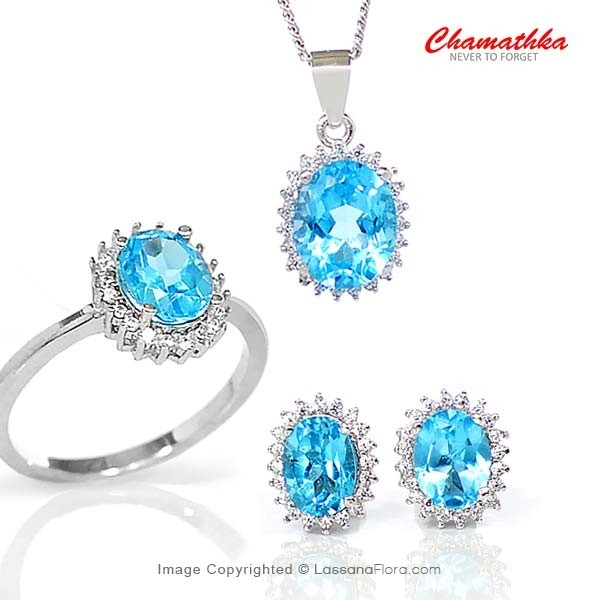 Diana Set - Semi Precious Blue Topaz - Women - in Sri Lanka