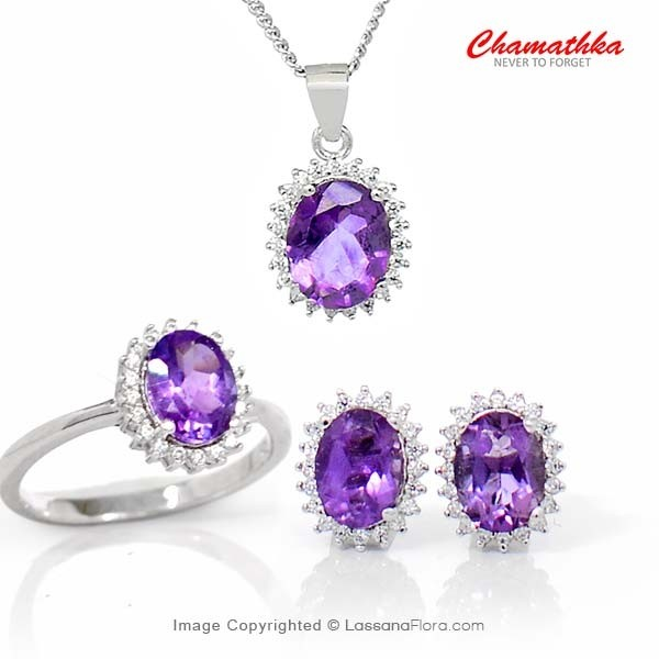 Diana Set - Semi Precious Amethyst - Women - in Sri Lanka