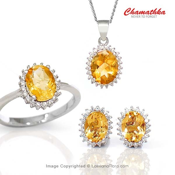 Diana Set - Semi Precious Citrine - Women - in Sri Lanka