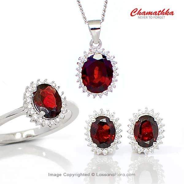 Diana Set - Semi Precious Garnet - Women - in Sri Lanka