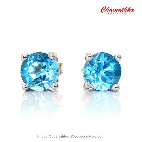Single Stone Ear Studs with 6 mm Blue Topaz - Women - in Sri Lanka