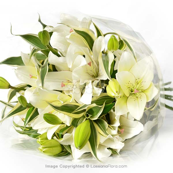 Bunch of White Lilies (5 Stems) - Lovely Lilies - in Sri Lanka