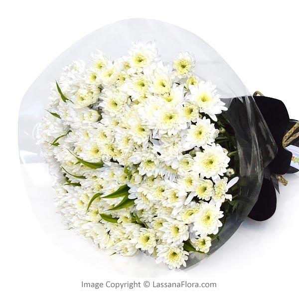 WHITE ANGEL CHRYSANTHEMUM BUNCH - Thank You - in Sri Lanka